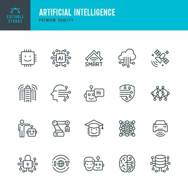 ilustraciones, imágenes clip art, dibujos animados e iconos de stock de inteligencia artificial - conjunto de iconos vectoriales de línea - inteligencia artificial