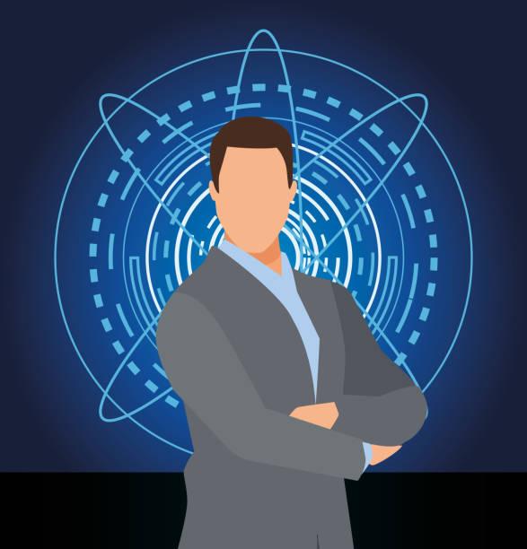 stockillustraties, clipart, cartoons en iconen met kunstmatige intelligentie technologie zakenman gekruiste armen futuristische achtergrond - dubbelopname businessman