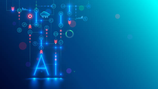 Artificial intelligence technology conceptual banner. AI neon letter in dark background links with icons. Tech analysis data. Machine learning of intellectual computer system of solution business task vector art illustration
