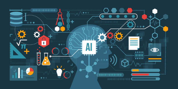Artificial intelligence technology development Artificial intelligence connected to a network of icons: problem solving, decision making and productivity concept artificial intelligence stock illustrations