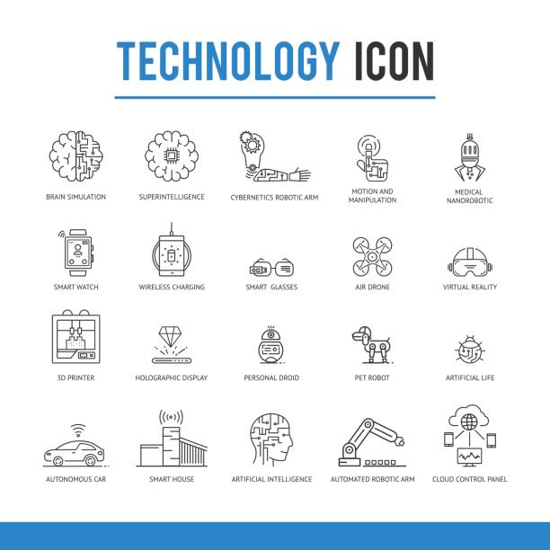 Artificial intelligence technology icon pack. vector art illustration