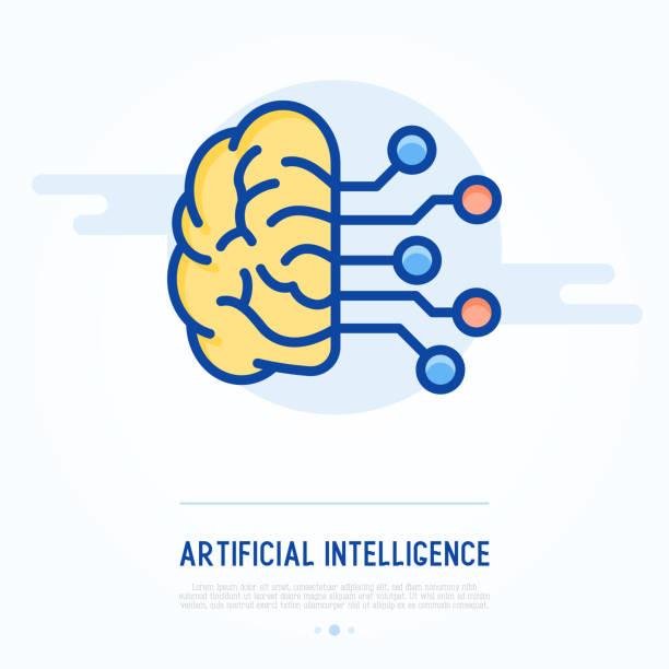 Icono de la delgada línea de inteligencia artificial. Ilustración de vector de aprendizaje automático. - ilustración de arte vectorial