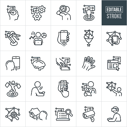 Artificial Intelligence Thin Line Icons - Editable Stroke