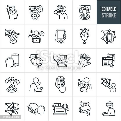 A set of artificial intelligence icons. The icons have editable strokes or outlines when using the vector file format. The icons include a human head with circuit board, cogs with circuit board, robot arm using AI, person analyzing AI data, machine learning on mobile phone, human brain and circuit board, website, target market using AI, health care worker using AI to analyze data, person using virtual reality and other related icons.
