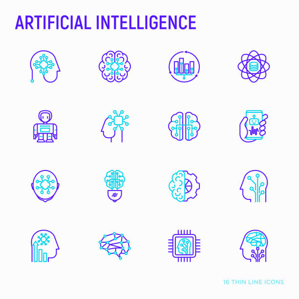 Artificial intelligence thin line icons set: robot, brain, machine learning, marketing analytics, cpu, chip, voice assistant. Modern vector illustration. vector art illustration