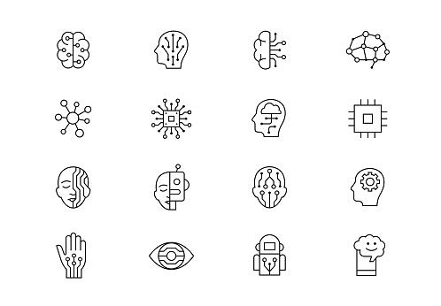 AI linear vector icon set