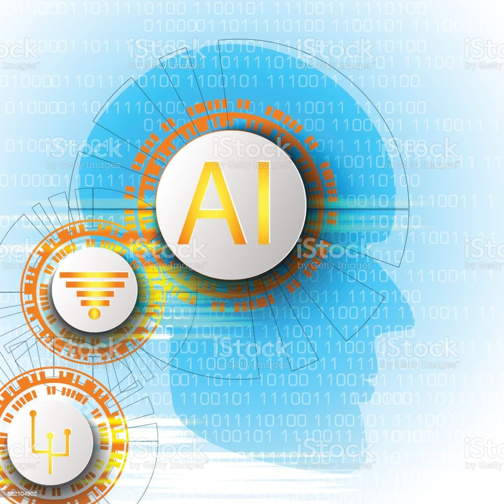 Artificial intelligence. Vector abstract illustration, technology and science background. vector art illustration