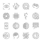 Artificial Intelligence. Vector icon set for artificial intelligence AI concept. Various symbols for the topic using flat design. Editable stroke