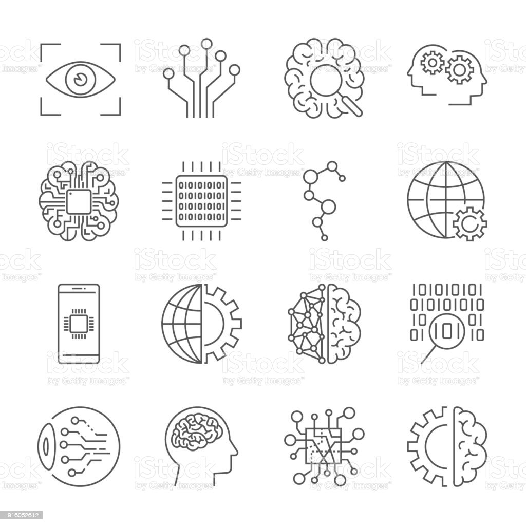 Artificial Intelligence. Vector icon set for artificial intelligence AI concept. Various symbols for the topic using flat design. Editable stroke vector art illustration