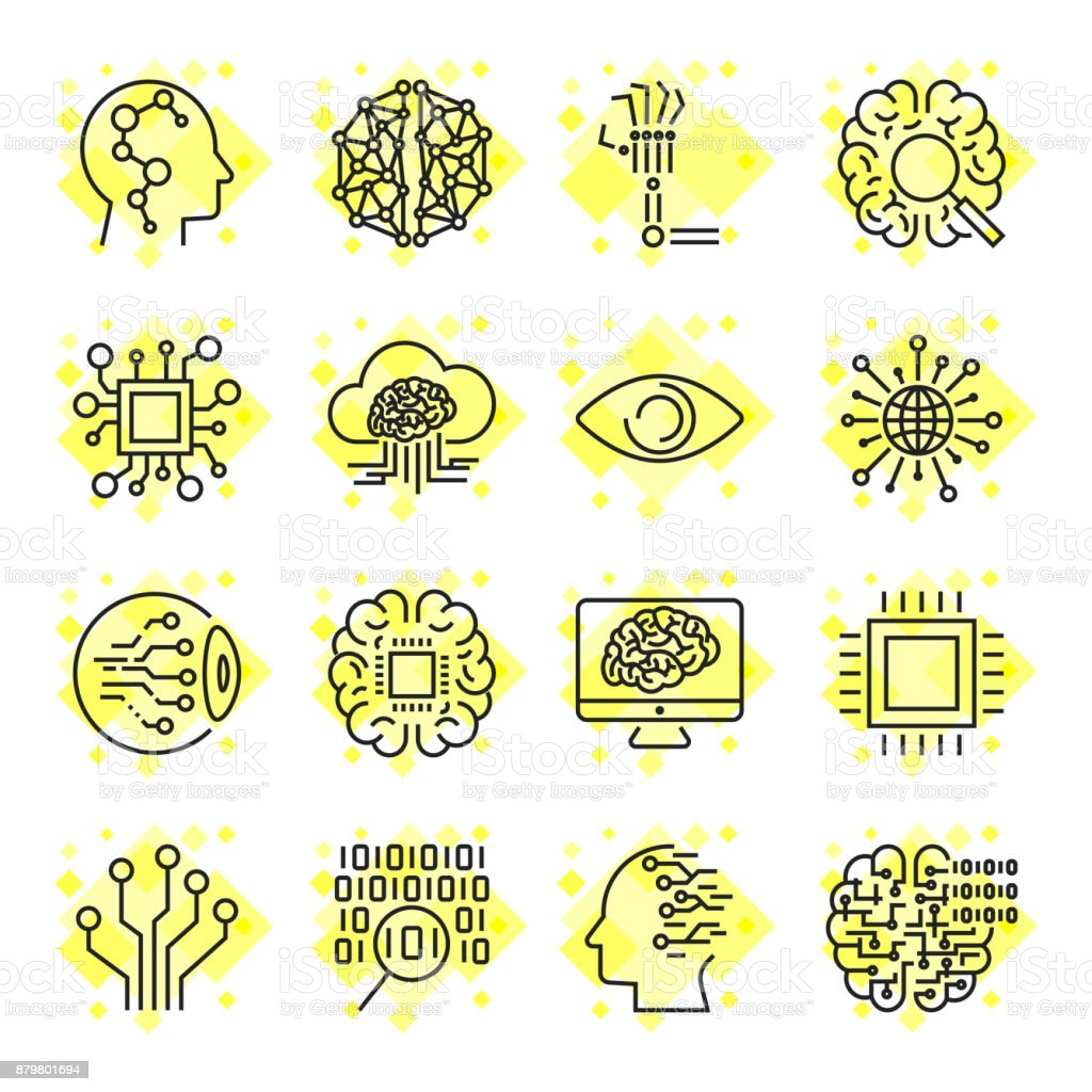 Artificial Intelligence Vector Icons. Icons for sites, apps, programs AI, chip, brain, processor and other. Editable Stroke vector art illustration