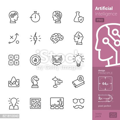 Artificial Intelligence related single-line icons pack.