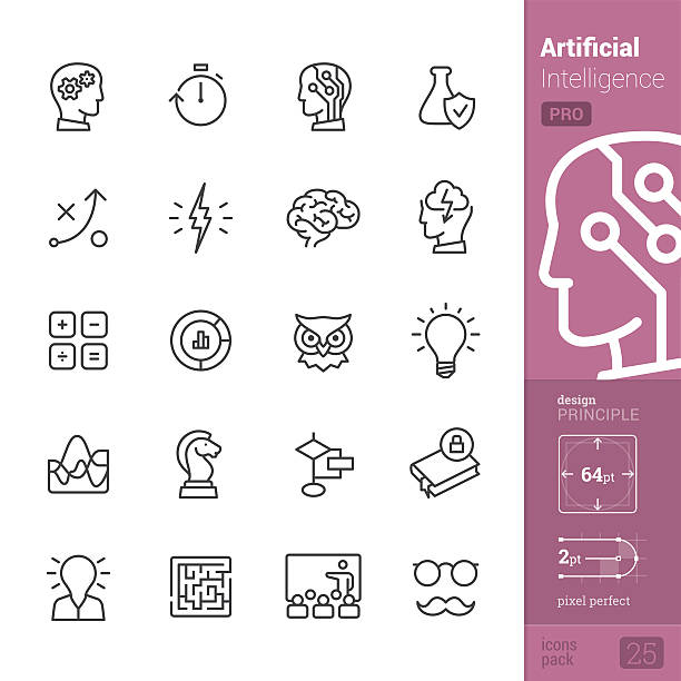 Artificial Intelligence vector icons - PRO pack Artificial Intelligence related single-line icons pack. chess knight silhouette stock illustrations