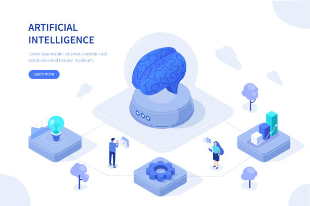 Artificial intelligence Artificial intelligence concept. Can use for web banner, infographics, hero images. Flat isometric vector illustration isolated on white background. machine learning stock illustrations
