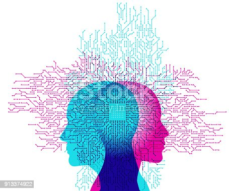 A powerful stylised computer processor and circuit link detail placed overlapping a silhouetted male and female side profile placed back to back.