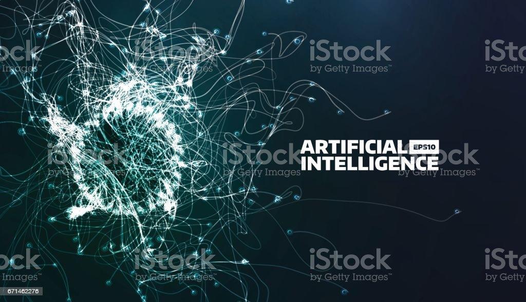 Ilustración de vector de inteligencia artificial. Camino de flujo de turbulencia. Fondo de ciencia futurista. Estructura orgánica - ilustración de arte vectorial