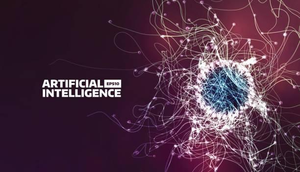 Ilustración de vector de inteligencia artificial. Camino de flujo de turbulencia. Fondo futurista - ilustración de arte vectorial