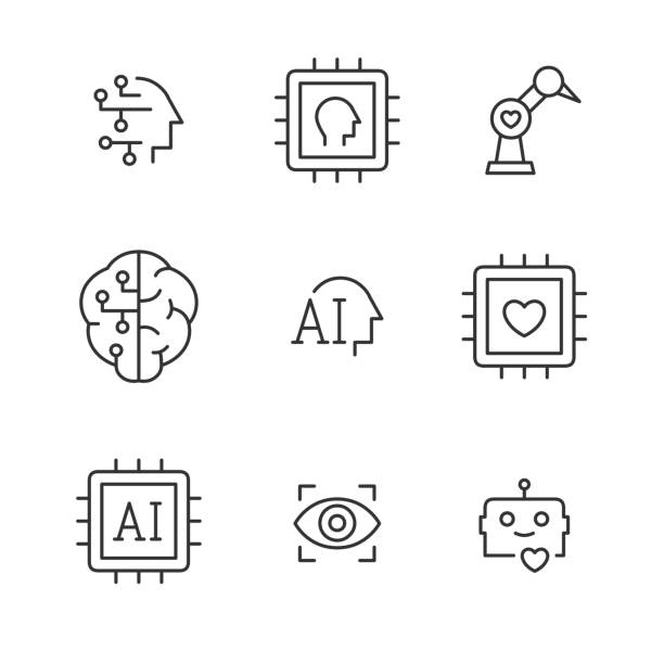 Artificial intelligence vector line icons. vector art illustration