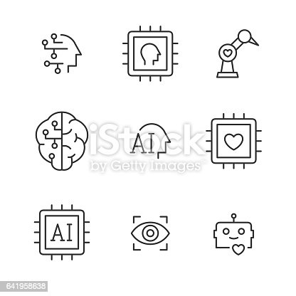 Artificial Intelligence Vector Line Icons Stock Vector Art