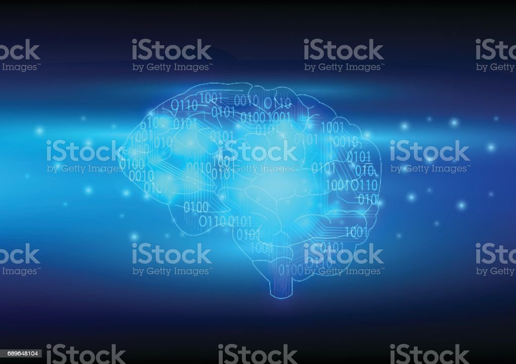 Artificial Intelligence with brain and binary code.