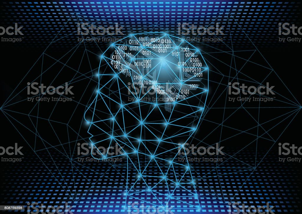 Artificial Intelligence with machine deep learning concept. vector art illustration