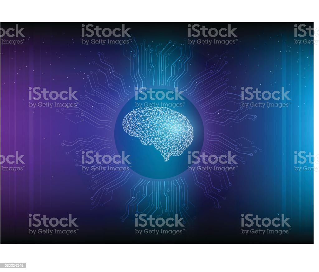 Artificial Intelligence with molecular and circuit design. vector art illustration