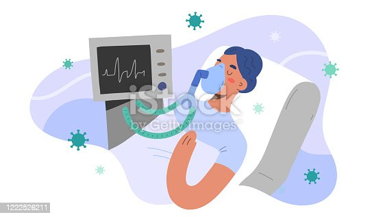 Artificial lung ventilation for covid patient, intensive care in hospital, woman infected by coronavirus intubated in critical condition, vector illustration, cartoon character. Pulmonary ventilator