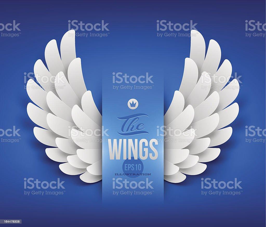 Artificial paper wings - vector illustration vector art illustration