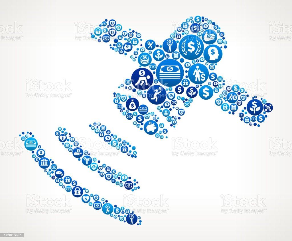 Satélite artificial dinero icono azul de fondo - arte vectorial de Actividades bancarias libre de derechos