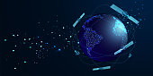 istock Artificial satellites orbiting the planet Earth in outer space isolated on dark blue background. Communication, navigation concept. Low poly wireframe style. Vector 1210633001