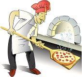 Young chef taking out freshly baked artisan pizza from a brick oven.  [Url=/file_search.php?action=file&lightboxID=5414655][img]http://www.soberve.com/banners/People.jpg[/img][/url]