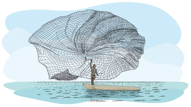 Artisanal fishing technique in river called Atarraya - Fishing net in Spanish language: Silhouette of man on a small canoe throwing the fishing net to the river Artisanal fishing technique in river called Atarraya - Fishing net in Spanish language: Silhouette of man on a small canoe throwing the fishing net to the river. Vector image alejomiranda stock illustrations