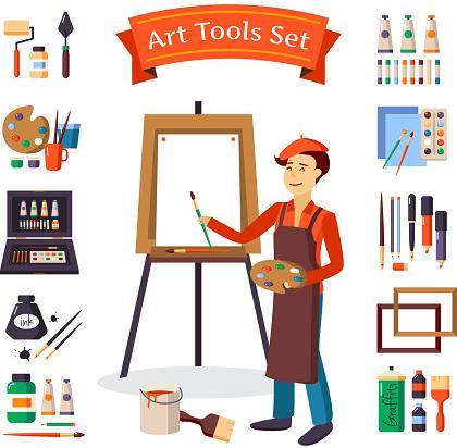 artist and art tools set