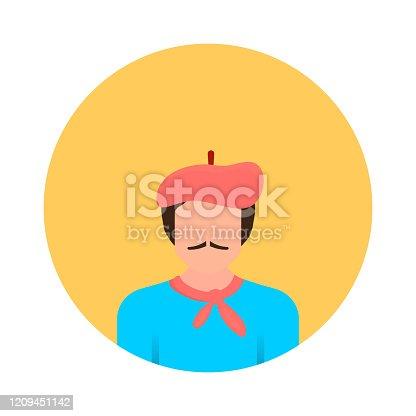 istock Artist Avatar Flat Icon. Flat Vector Illustration Symbol Design Element 1209451142