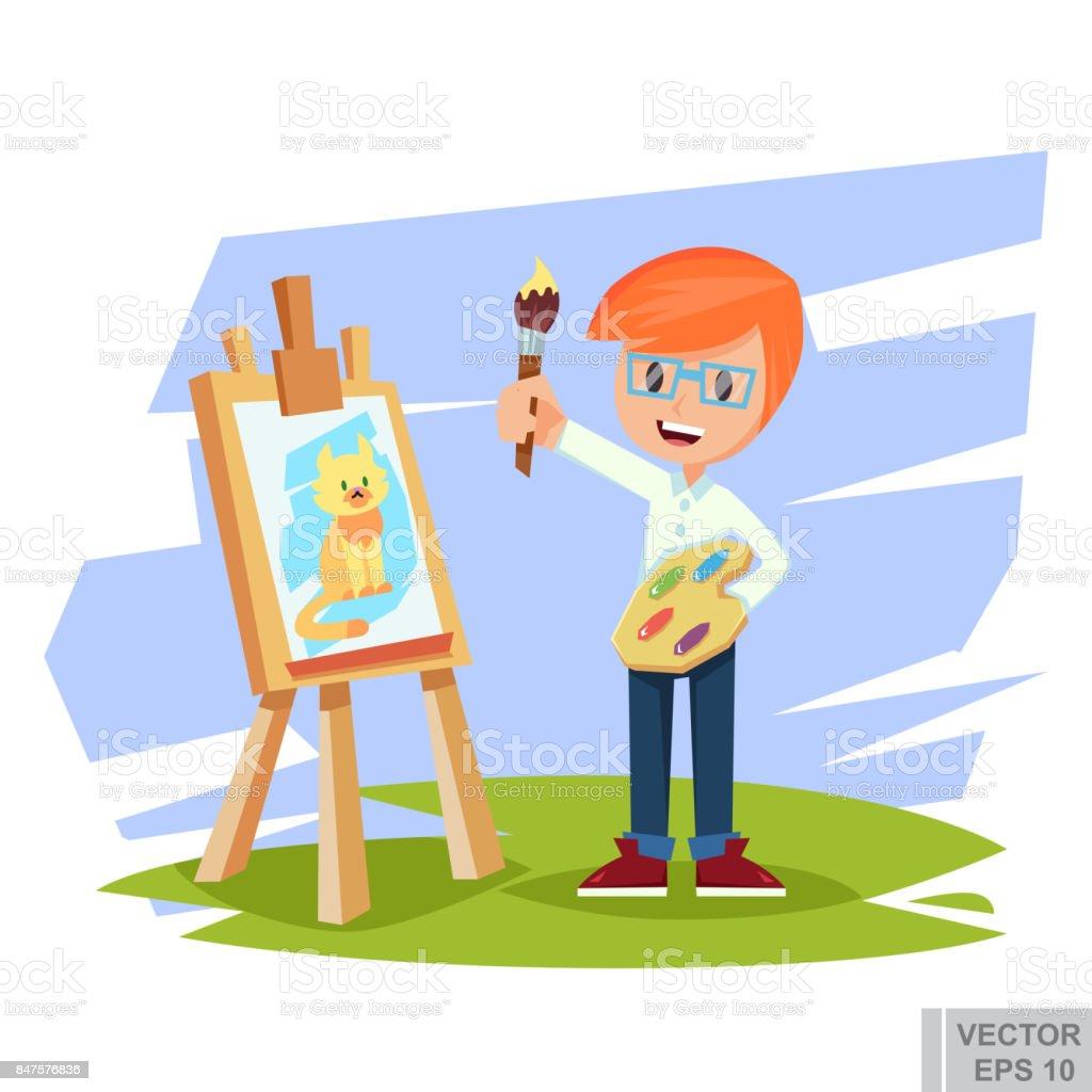 Ilustración de Gato En Lona Del Artista Niño Niño Pintura Diseño De ...