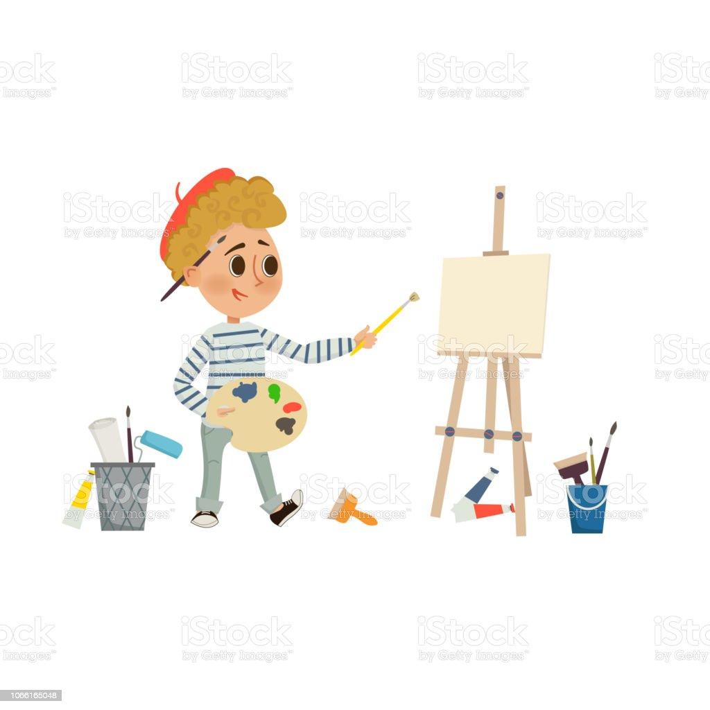 Boy De Lartiste Dessin Et La Peinture Photo Avec Pinceau Et