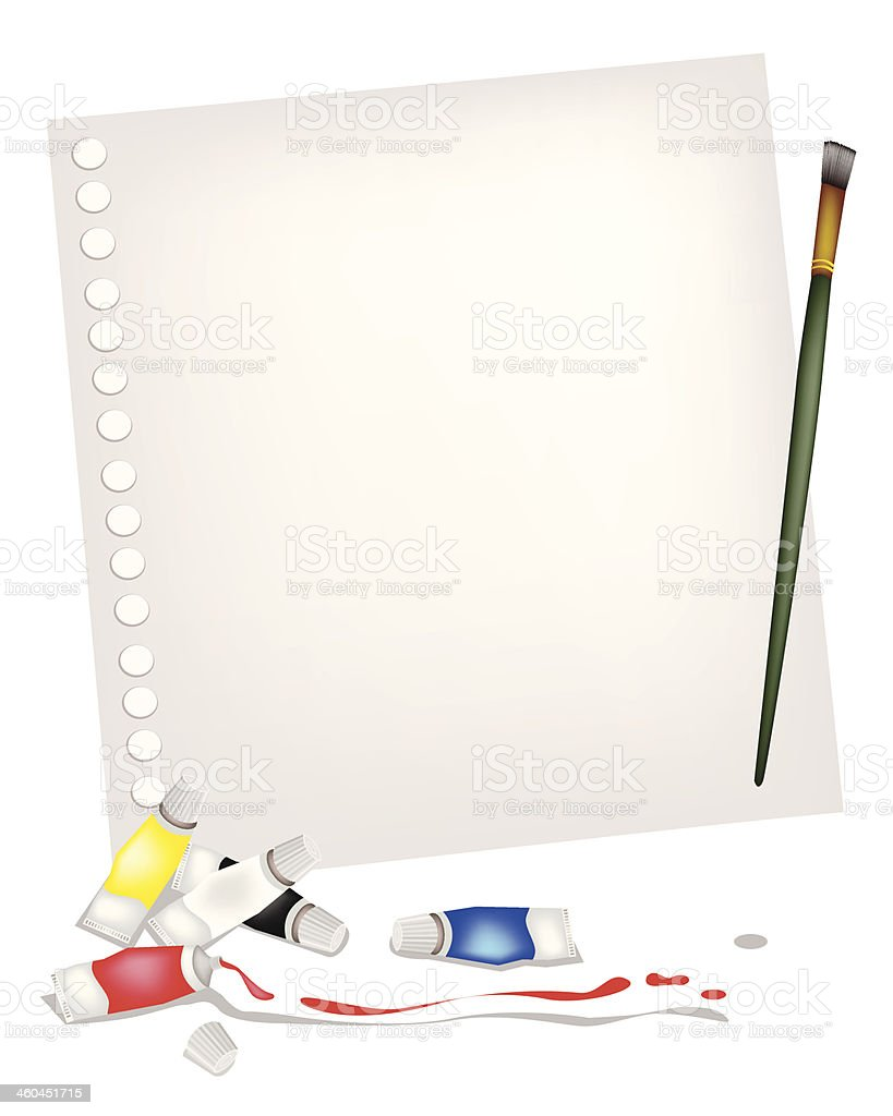 Artist Brush and Paint Tubes on A Blank Page royalty-free stock vector art