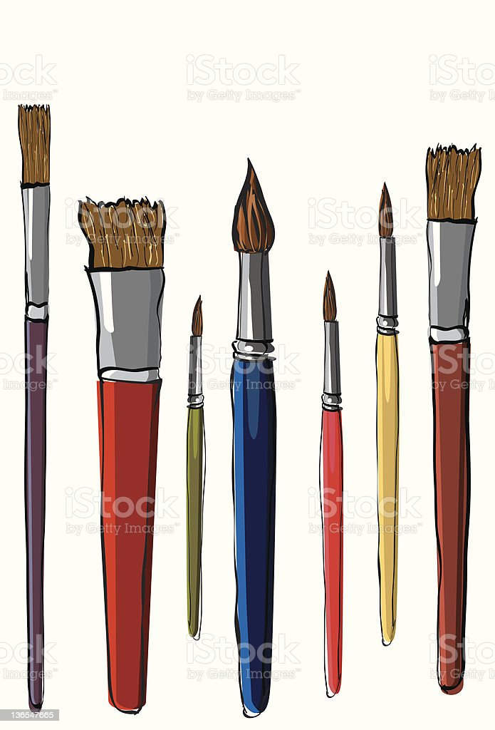Artist brushes royalty-free stock vector art