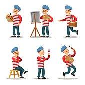 Artist Cartoon Character Set. Painter with Palette. Vector illustration