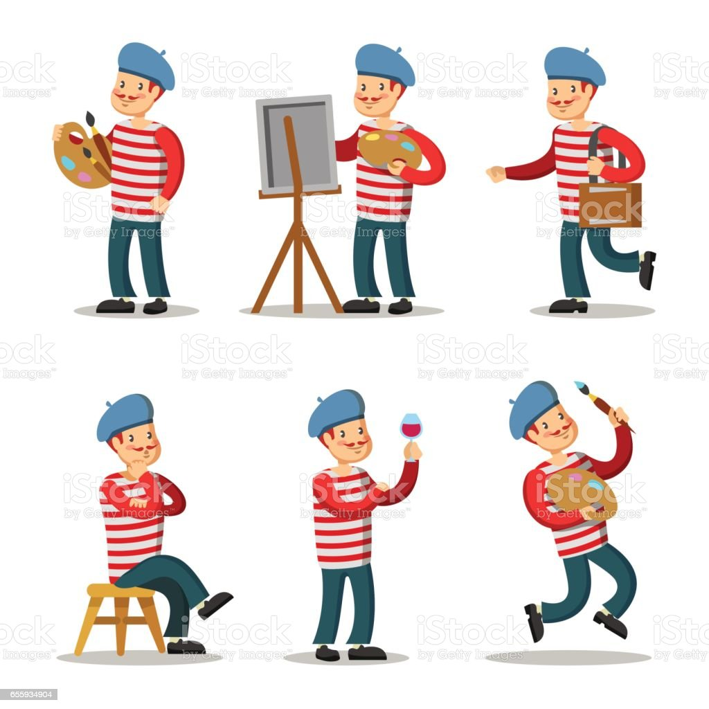 Artist Cartoon Character Set. Painter with Palette. Vector illustration vector art illustration