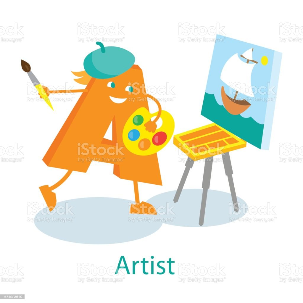 Artist cartoon letter royalty-free artist cartoon letter stock vector art & more images of alphabet