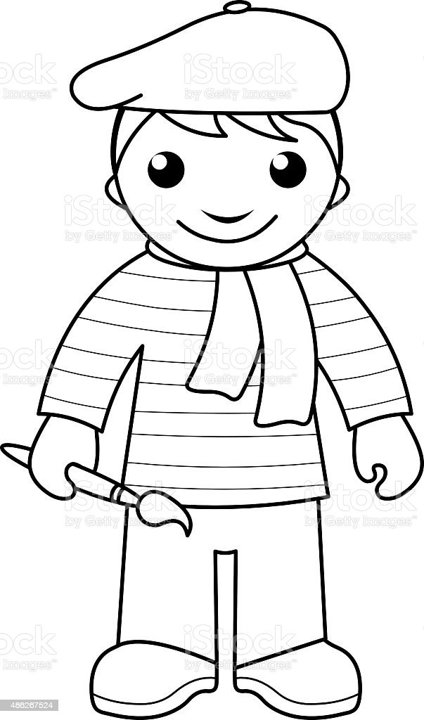 Artist Coloring Page For Kids Stock Vector Art More Images Of 2015