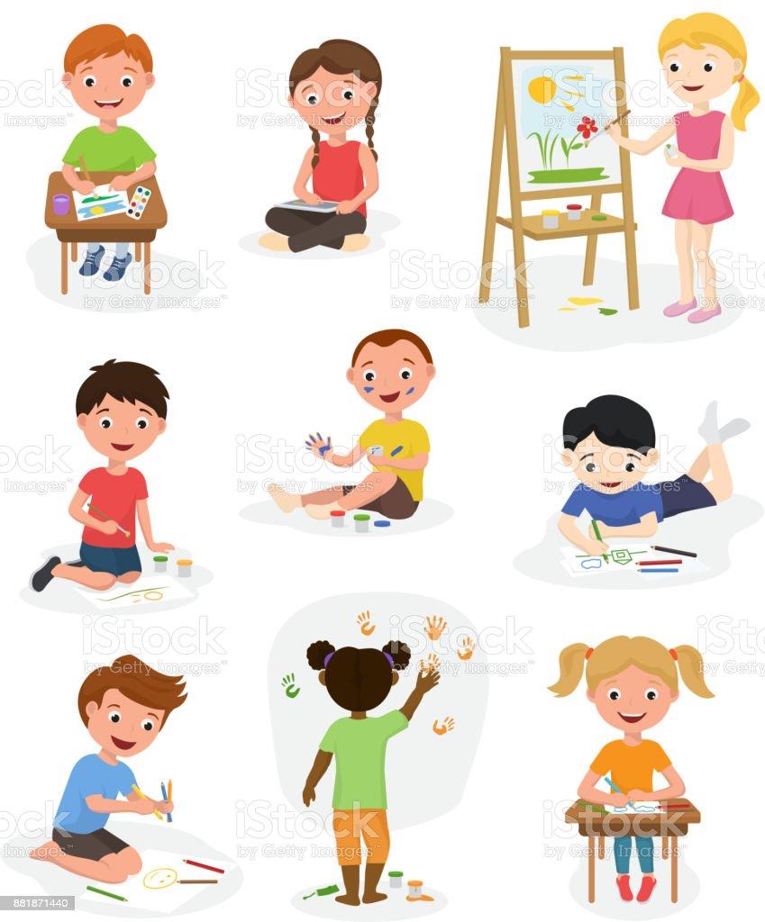 Niedlichen Kinder Künstler Vektor Paint Kunst Kind Kreative