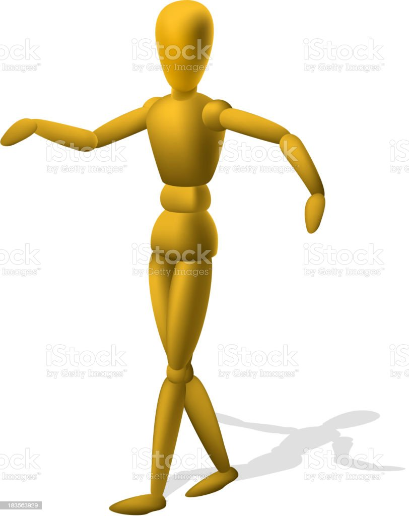 Artist Drawing Model Wood Figure Wooden Mannequin vector art illustration