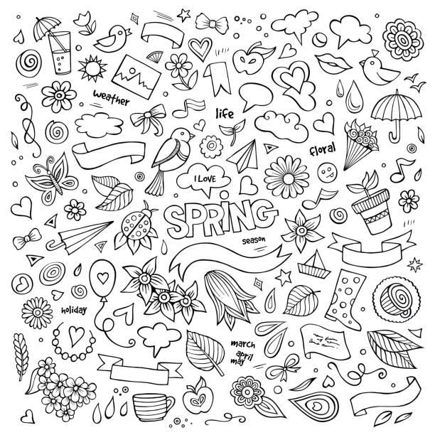 Natur im Frühjahr hand drawn vector Symbole und Objekte – Vektorgrafik