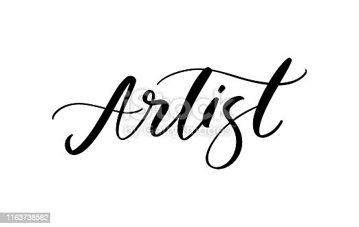 Artist fashion logo text. Lettering illustration. Calligraphy phrase for gift cards, decorative cards, beauty blogs. Vector hand drawn lettering phrase. Handwritten ink inscription.