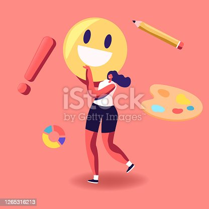 istock Artist Girl Character with Paints Palette and Huge Smile in Searching for Painting Inspiration. Creative Hobby, Drawing 1265316213