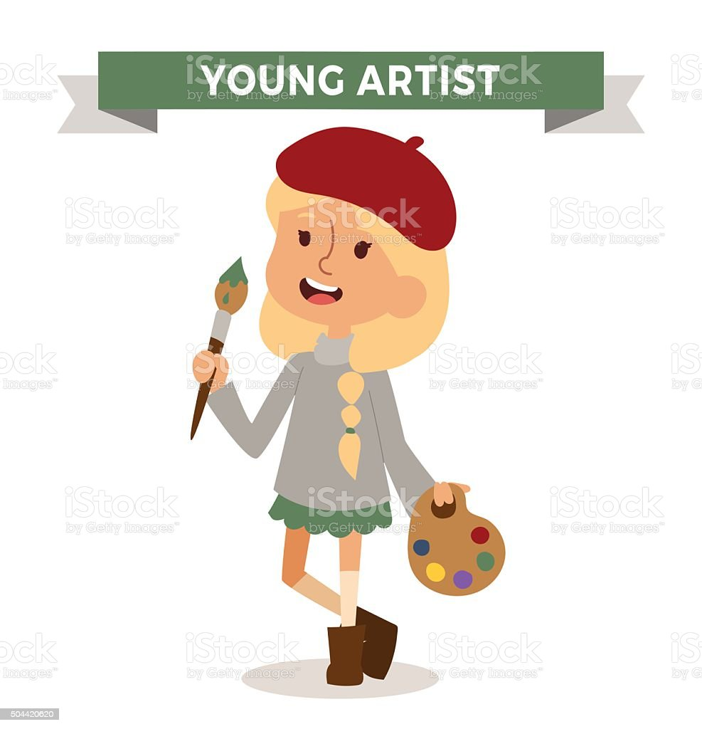 Artist girl with art brush isolated on white vector art illustration