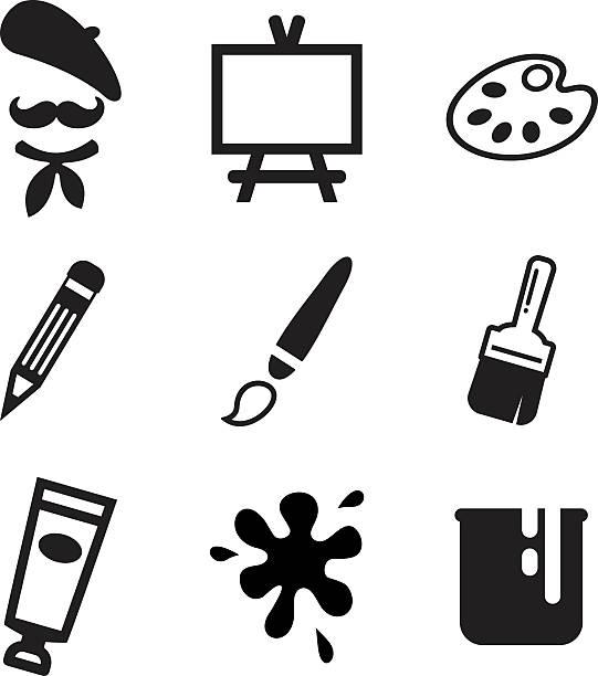 künstler-symbole - palettenbilderrahmen stock-grafiken, -clipart, -cartoons und -symbole