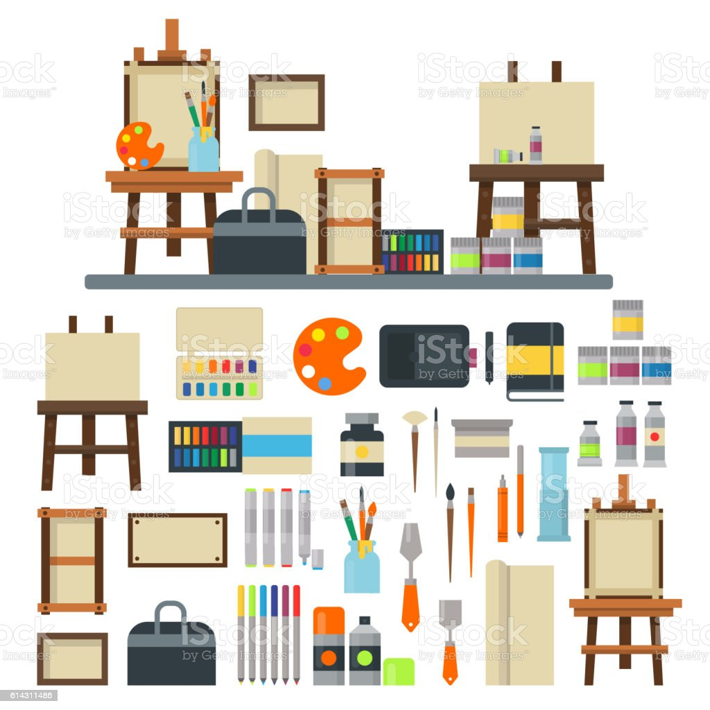 Artist icons vector set. vector art illustration