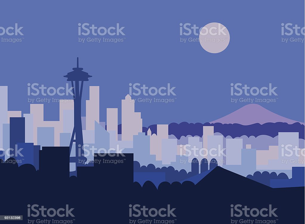 Artist impression of Seattle at night  royalty-free artist impression of seattle at night stock vector art & more images of art